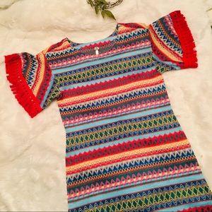 Uncle Frank Multicolor Chevron Fringe Dress